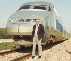 Paul Wild on track in front of TGV, France, 1989